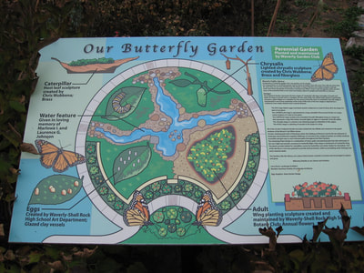 Butterfly Garden sign at Library Butterfly Garden, Waverly, Iowa